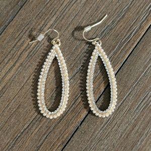 Long teardrop hoop earrings